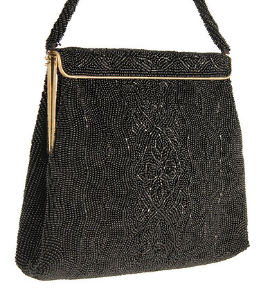 Walborg Black Glass Beaded Evening Purse