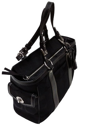 Coach Black Tote with Leather Trim