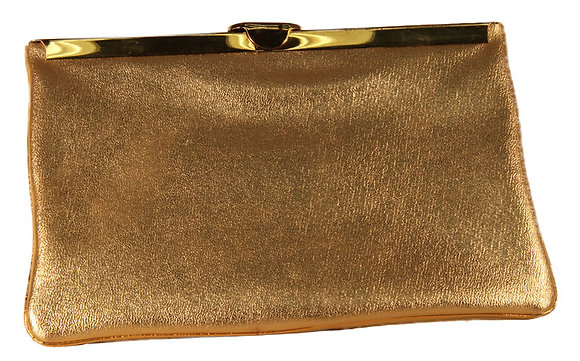 Harry Levine Gold Leather Clutch