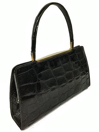 1960's Genuine Kelly Style Purse Black Alligator Skin Leather Wristlet