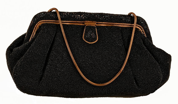 French Deep Navy Microbeaded Evening Purse