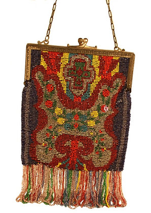 Bright Seed Beaded Flapper Purse- SOLD