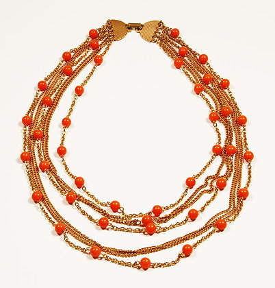 Vintage Gold Toned Coral Beads