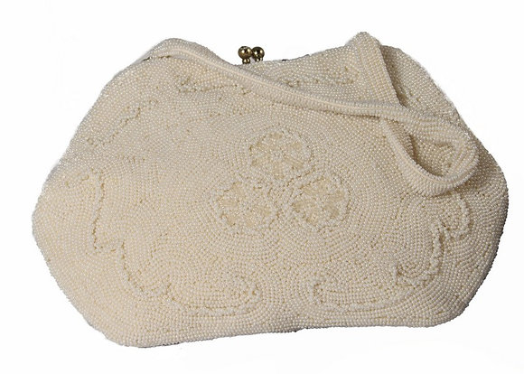 Cream Pearl Beaded   Evening Purse