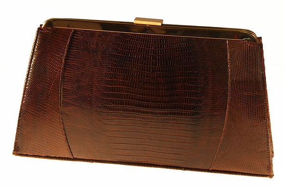 Bellestone Brown Lizard Clutch