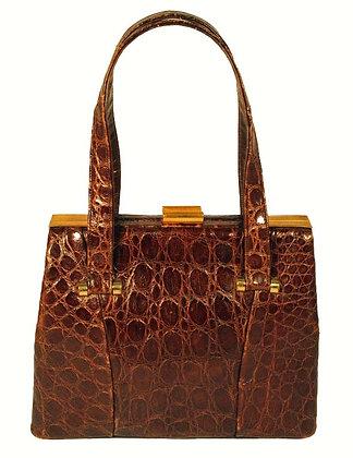 Bass Chocolate Brown Alligator Bag