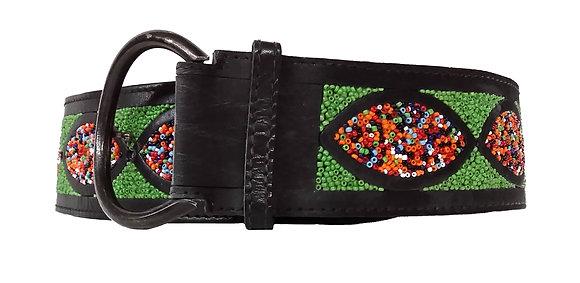 Charles Jourdan Black Leather Beaded Belt