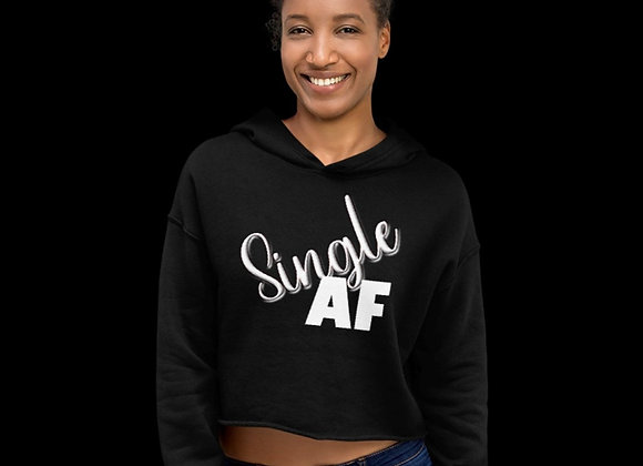 SIngle AF Women's Black Crop Hoodie