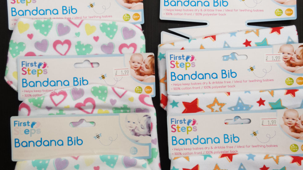 Brand new First Steps bandana bibs - star or heart design