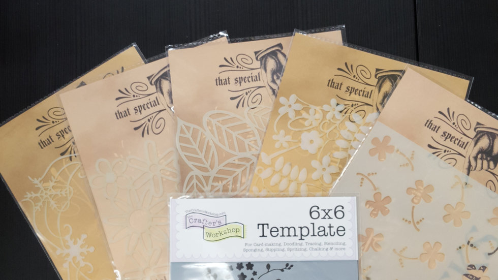 "6 Stencils Masks Templates For Crafting brand new approx. 6"" by 6"""