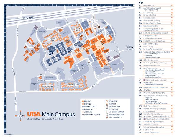 Oc Campus Map.Utsa Jpn Kids Camp Utsa Main Campus Map