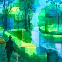 Morning Walk. Acrylic on paper 30x30cm.
