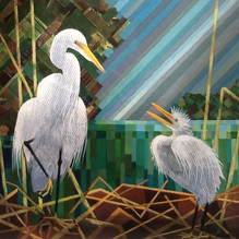 Egret and Chick. Mixed media 60x54cm.