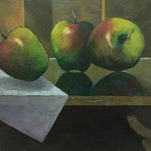 Three Apples. Oil on board 25x22cm.