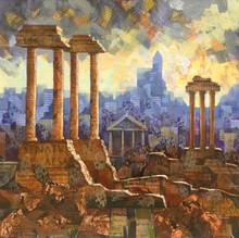 The Roman Forum. Mixed media on board 46x50cm.