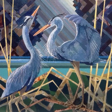 Nesting Herons. Mixed media 60x54cm.