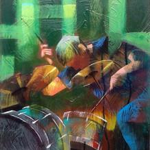 Jazz Drummer. Acrylic 27x30cm.