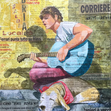 Boy with Guitar. Mixed media 27x30cm.