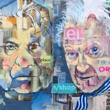Picasso, Dali, Bacon, Freud, Hockney, Warhol. Mixed media on paper 80x21cm.