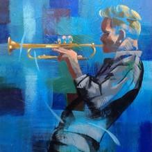 Charlie on Trumpet. Acrylic  27x30cm.