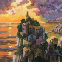The Cinque Terre. Mixed media on board. 46x50cm46x50cm.
