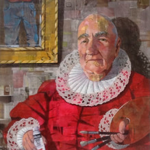 Self portrait with Paper Doily. Mixed media on board 50x46cm.