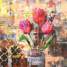 Urban Tulips. Mixed media 30x30cm.