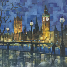 Big Ben from the Embankment. Mixed media on board, 46x50cm.