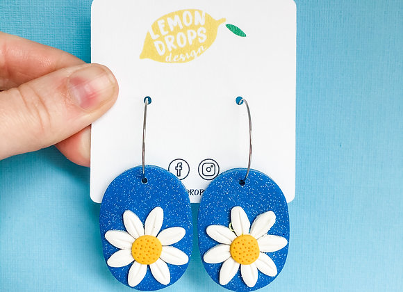 Large Daisy Hoops