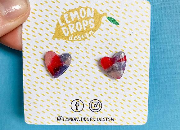 Gemstone Tie Dye Heart Studs