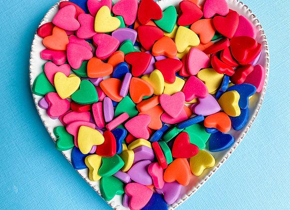 Heart Studs - Rainbow Colours