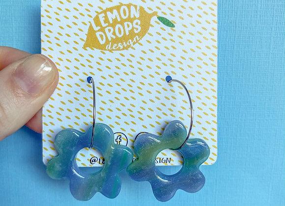 Blue Tie Dye - Small Flower Hoop