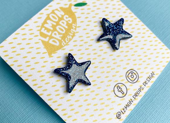 Navy Glitter Star Studs