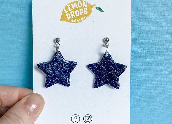 Navy Glitter Star Drops