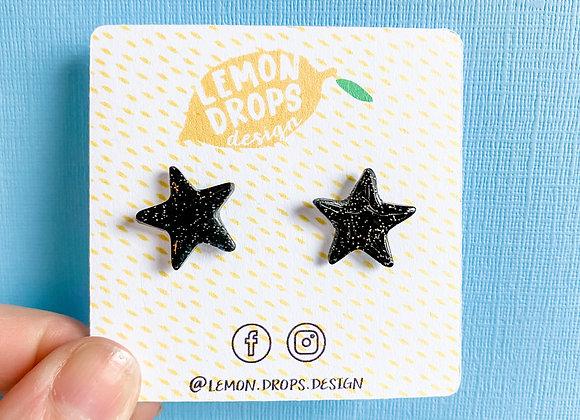 Black Glitter Star Studs