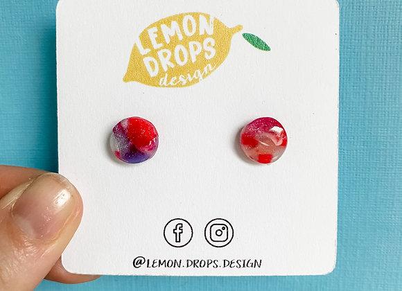 Small Gemstone Tie Dye Dot Studs
