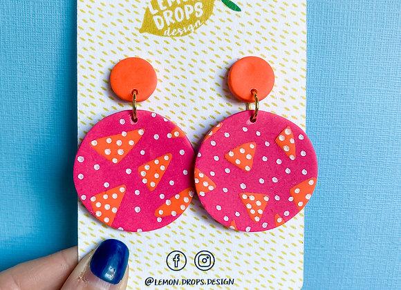Large Luna Drops - Pink & Orange