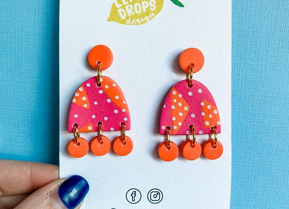 Small Luna Dangles - Pink & Orange