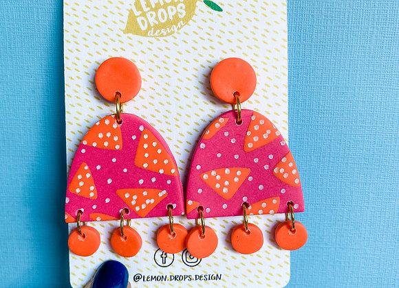Large Luna Dangles - Pink & Orange