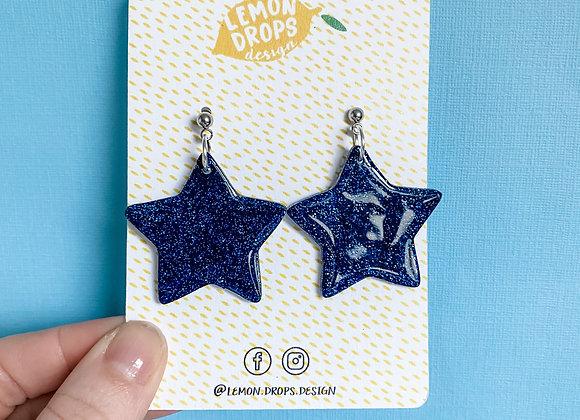 Large Navy Glitter Star Drops