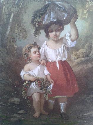 """Aquarelle """"enfants"""" XIXe. Ref.0483B"""