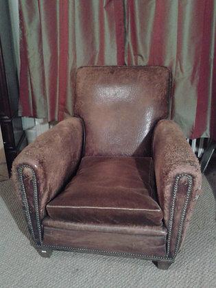 Fauteuil club  cuir des années 30