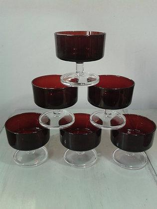 Série 6 coupes verre rouge années 70