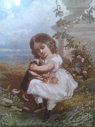"Aquarelle ""Petite fille"" XIXe. Ref.0483A"