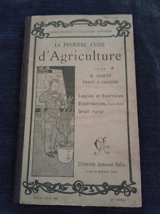 """Livre"""" première année d'agriculture"""". Ref.0547"""