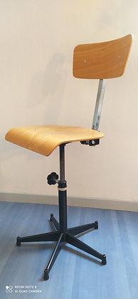 Chaise d'atelier vintage, hauteur dossier et assise réglable