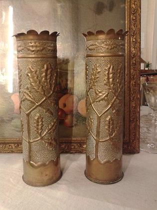 Paire de vase travail de poilu. Ref.S0283