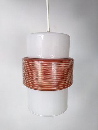 Suspension opaline cylindrique vintage 70