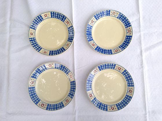 ensemble de 4 assiettes lunéville décor bleu et rouge