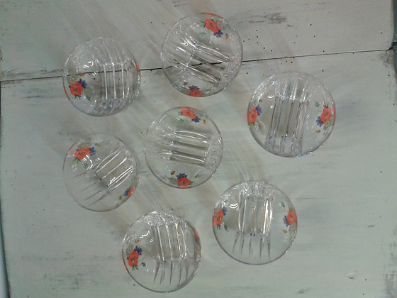 7 coupelles verre décor champêtre. Ref.0861